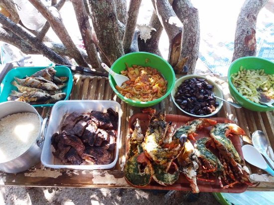 Pacífico Sul: Repas pris sur l'île de PAM.