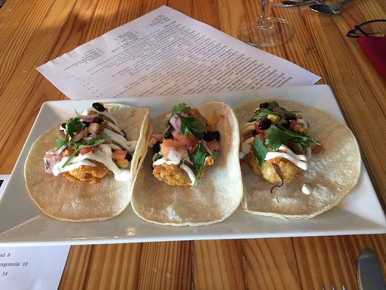 West Bend, WI : Fried avocado tacos, yum!