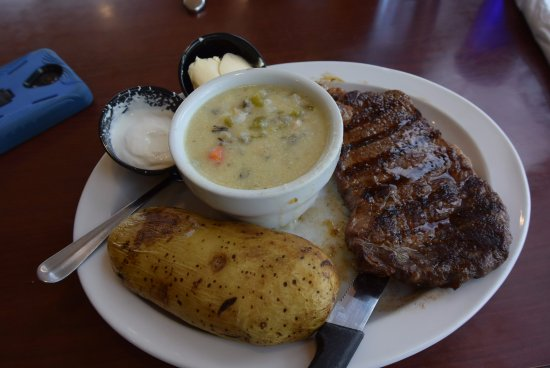 Waseca, MN: steak with potato and chicken soup