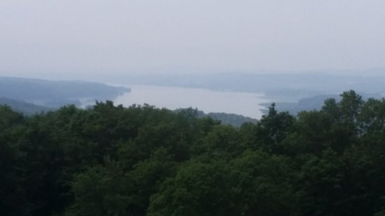 Olana State Historic Site : view of the Hudson from Olana grounds, cloudy day