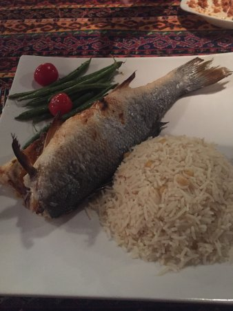 Agoura Hills, CA: Roasted Branzino, rice, and green beans with tomatoes