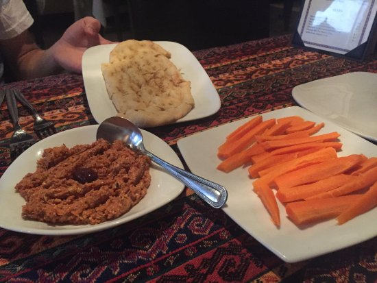 Agoura Hills, CA: Red Pepper and Walnut Dip served with Carrots and Grilled Bread