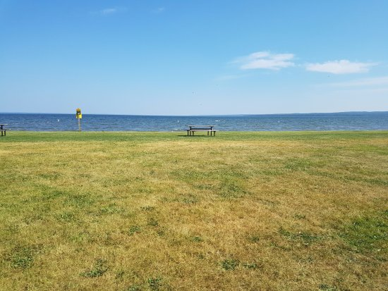 Wetaskiwin, Canadá: Day use area with picnic tables, fire pits and beach