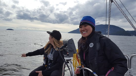 West Vancouver, Canada: My significant other (Sandra) sailing while Keanna enjoys the beautiful view.