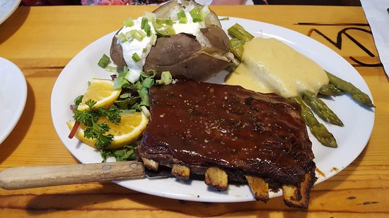 Descanso, CA: 1/2 Rack St. Louis Style Ribs, With A Baked Potato & Grilled Asparagus