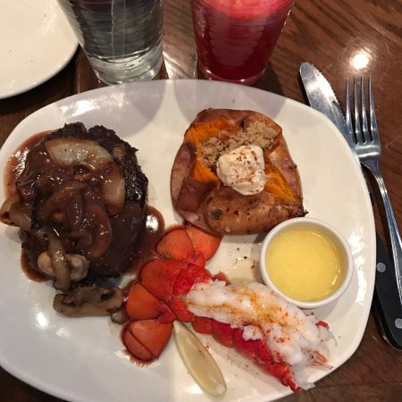 Surprise, AZ: Steak with mushrooms, Sweet Potato, and nice sized lobster