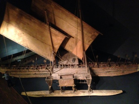 Museum of Ethnology: A model of a Polynesian outrigger canoe in its Oceania collection