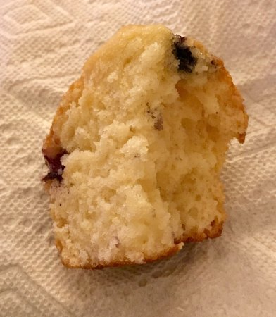 Woodhaven, MI: Believe it or not, this is supposed to be a blueberry muffin... Hard to tell due to the fact tha