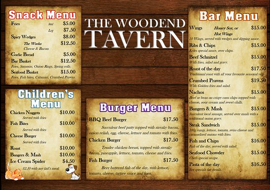 Woodend, Nouvelle-Zélande : Bar Menu