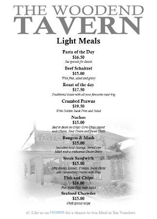 Woodend, New Zealand: Restaurant Light Meals