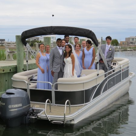 Westhampton Beach, NY: Wedding Party on their way to Dockers Waterside for their wedding reception.