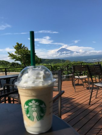 Starbucks Coffee Fujigawa Service Area Outbound Line: my limited addition lime frappucino yogurt to quench the thirst and with a good view