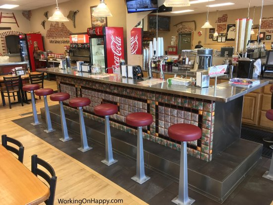 Ashton, ID: The renovated, but original, soda fountain from when the place was a drugstore.