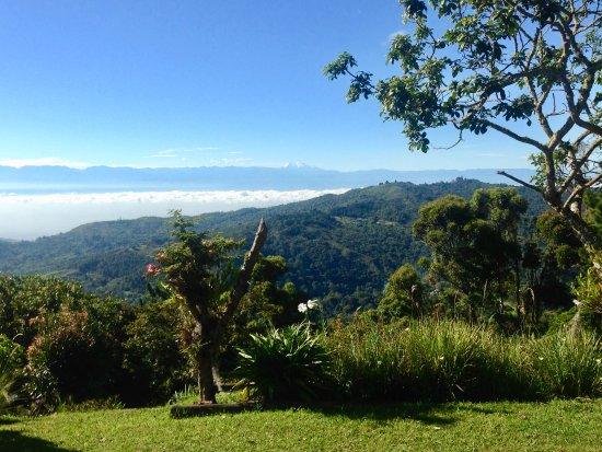 Pichinde, Колумбия: The morning view in Kantu - the snowcapped Huila peak on the horizon.