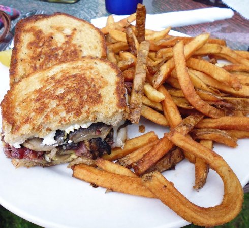Colchester, VT: Black and bleu pastrami sandwich with fries
