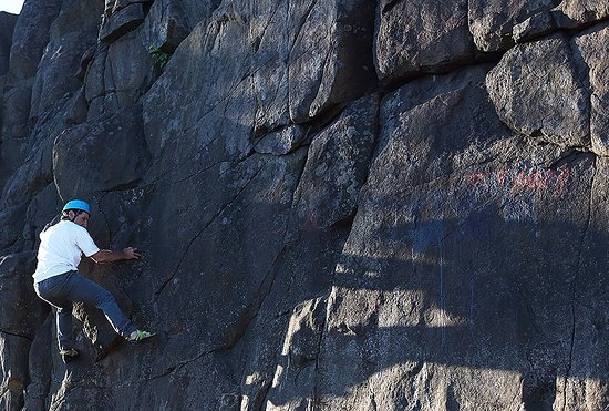 Silver Bay, MN: Experienced rock climbers boulder and traverse at our park