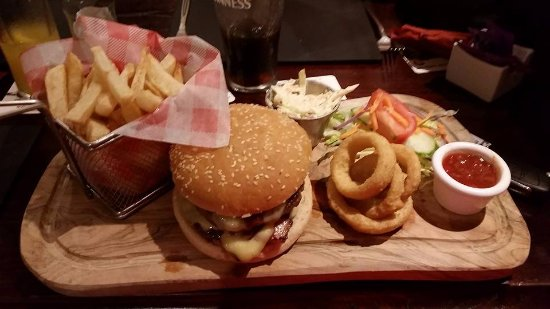 Tonypandy, UK: BBq bacon and cheese burger with real chips