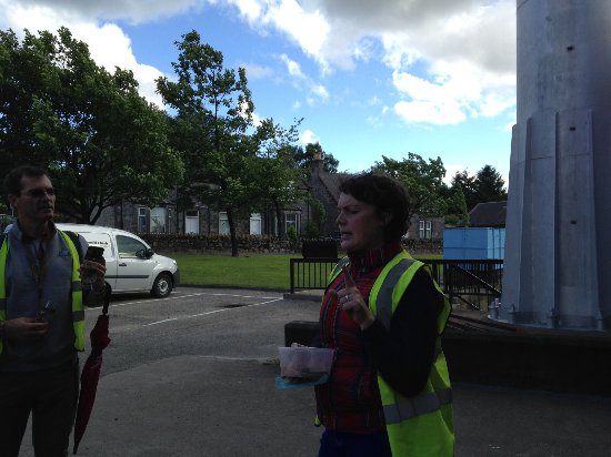 Dufftown, UK: Michelle making a point before passing out some chocolates.