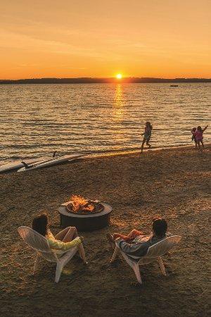 Acme, MI: Sunset bonfire at the Beach Club
