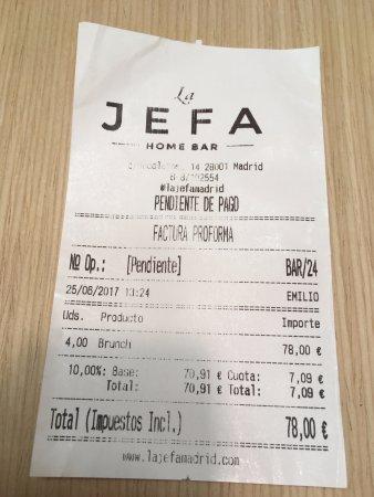 Ticket De La Jefa Home Bar Picture Of La Jefa Home Bar Madrid