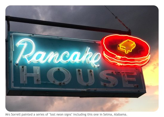 Selma, AL: Look for the classic neon sign of the former Pancake House