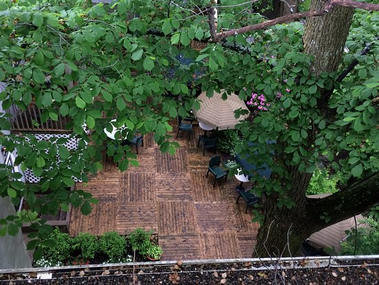 The Halliburton: Outdoor courtyard from above