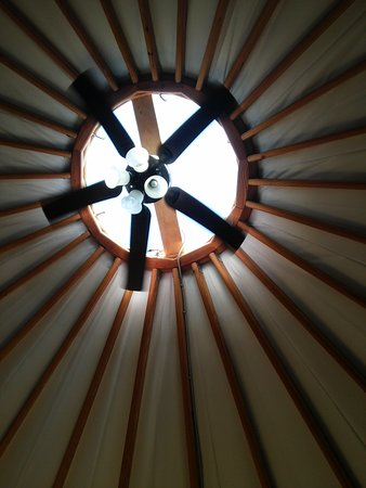 The Lodge at the Wilds: Skylight with fan and overhead lighting standard in each yurt