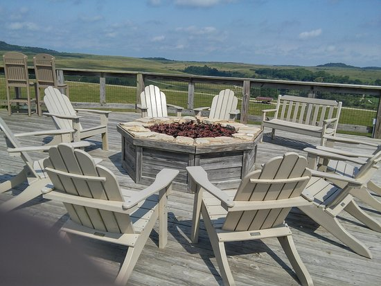 The Lodge at the Wilds: The gas firepit where travelers gather and chat with the grounds staff.