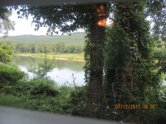 Jack's Fishing Resort and RV Park: White River from the sitting room window. That is a window blind slat at the bottom not a street