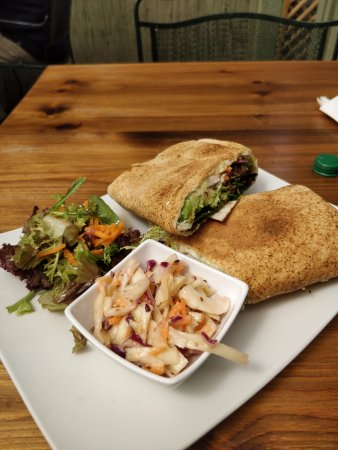 Brecon, UK: Wrap with roast chicken, cheese, salad, avocado and seeds.