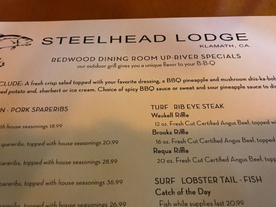 Klamath, CA: part of the menu