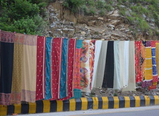 Kashmir Point: Head scarfs for ladies on display on roadsides