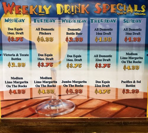 Mi Casa mexican restaurant: WEEKLY DRINK EPECIALS