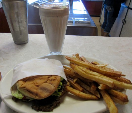 Butte, MT: Hamburger Deluxe with fries and chocolate shake