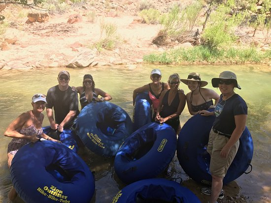 Start of Tubing down the Virgin River from Zion Outfitters in Springdale, Utah