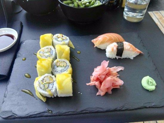 Go Sushi: Mango exotic, Gambor nigiri, Avoka nigiri