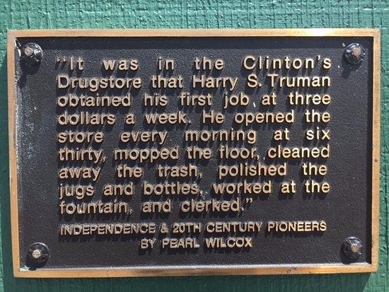 Independence, MO: Plaque on the exterior of the Clinton Soda Fountain