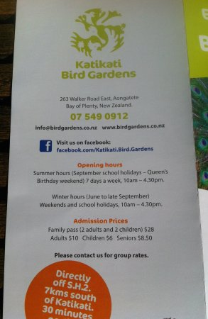 Katikati, Nuova Zelanda: Brochure info