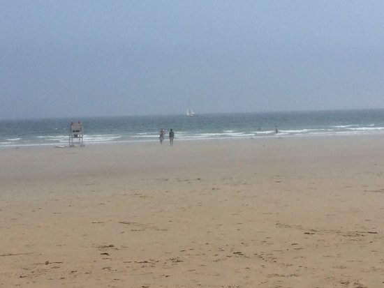 Ogunquit Beach: It was a hazy day on and off but beautiful beach.  Bathrooms clean, and spout for rinsing dirty