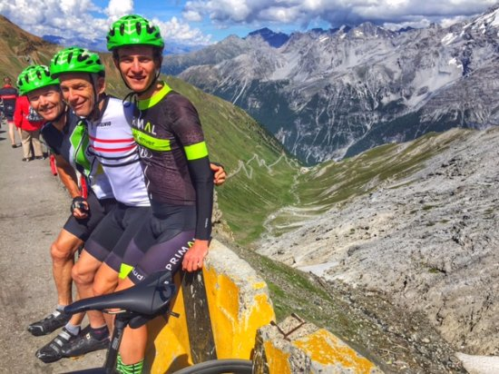 Stelvio Pass: My son (right), yours truly (center), friend Larry (left)