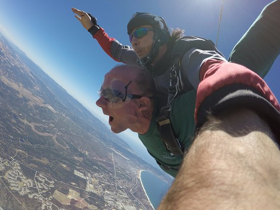 Marina, CA: Jumpmaster, Jean Orlov, and me at 18,000 feet, and falling.