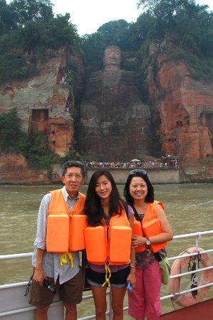 Hefei, China: Our family at the Leshan Budha Mountain (ChengDu)