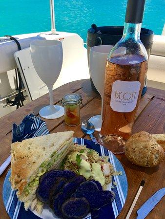 Grand Cul-de-Sac, São Bartolomeu: Picnic lunch on the boat