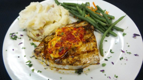 Bowling Green, OH: Swordfish with Roasted Red Pepper Sauce