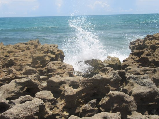 Hobe Sound, FL: Tide coming in. More rocks in the water to snorkel at.