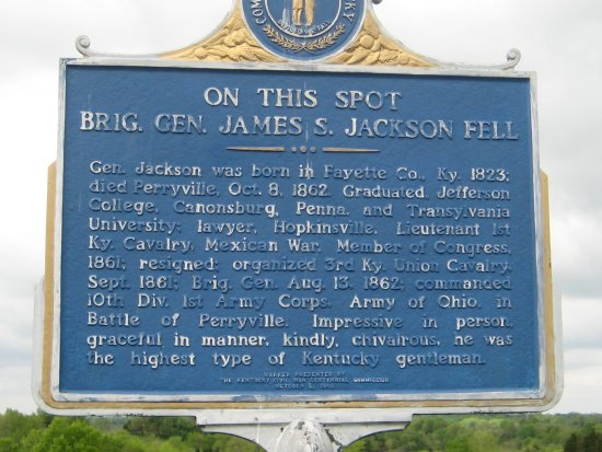Perryville Battlefield State Historic Site Spot Where Union General J S Jackson Was Killed