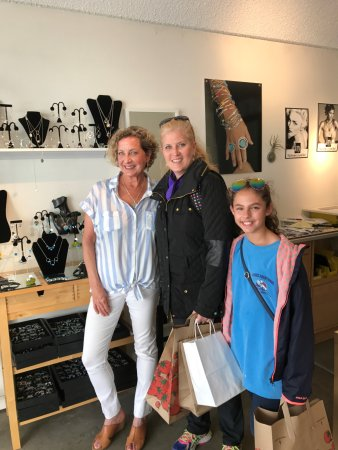 Sausalito, CA: Katya Wittenstein in her gallery with me and my daughter.