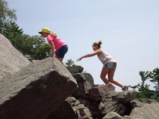 Baraboo, WI: On the Balanced Rock trail (ages 10 and 8).