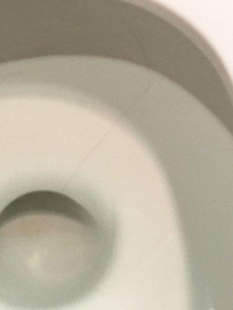 บีเวอร์ตัน, ออริกอน: Cracked toilet. Severe hazard.