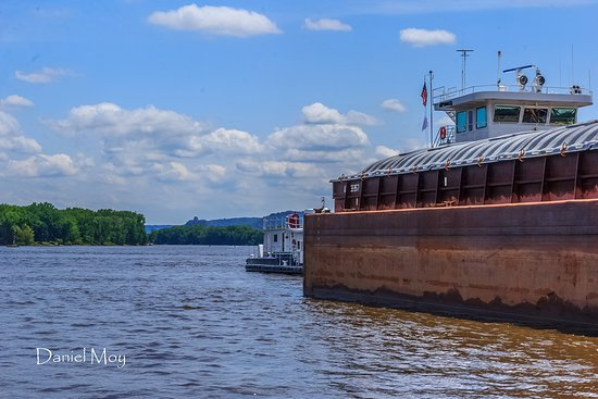 Winona Tour Boat - Up close and personal to an empty barge near Winona